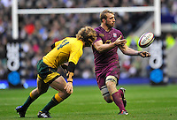 Twickenham, England. Chris Robshaw of England makes a pass during the QBE international match between England and Australia for the Cook Cup at Twickenham Stadium on November 10, 2012 in Twickenham, England