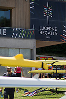 Lucerne, SWITZERLAND, 12th July 2018, Thursday Main Poster, on the front of the Administration Building and Boathouse,, FISA World Cup III, Lake Rotsee, © Peter SPURRIER,