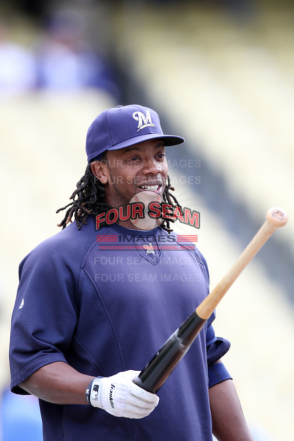 Rickie Weeks #23 of the Milwaukee Brewers before game against the Los Angeles Dodgers at Dodger Stadium in Los Angeles,California on May 16, 2011. Photo by Larry Goren/Four Seam Images
