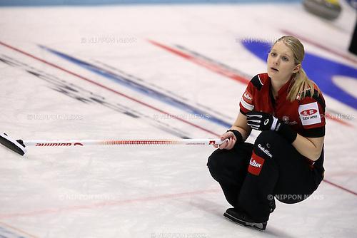 Winkelhausen Marisa (SUI),<br /> MARCH 19, 2015 - Curling : World Women's Curling Championship 2015 Round Robin match between Switzerland and Scotland at Tsukisamu Gymnasium in Sapporo, Hokkaido, Japan. (Photo by Jun Tsukida/AFLO SPORT)