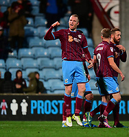 Scunthorpe United's Neal Bishop celebrates scoring the opening goal <br /> <br /> Photographer Chris Vaughan/CameraSport<br /> <br /> The EFL Sky Bet League One - Scunthorpe United v Bristol Rovers - Saturday 11th November 2017 - Glanford Park - Scunthorpe<br /> <br /> World Copyright &copy; 2017 CameraSport. All rights reserved. 43 Linden Ave. Countesthorpe. Leicester. England. LE8 5PG - Tel: +44 (0) 116 277 4147 - admin@camerasport.com - www.camerasport.com