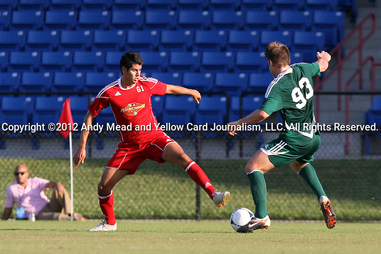 06 January 2012: Gienir Garcia (MEX) (61) and Kirk Urso (North Carolina) (93). The 2012 MLS Player Combine was held on the cricket oval at Central Broward Regional Park in Lauderhill, Florida.