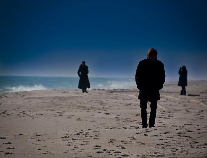 Winter Beach Babylon - Silhouettes on the Beach, Long Island, New York