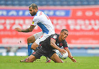 Blackburn Rovers' Ryan Nyambe battles with Reading's Andy Rinomhota<br /> <br /> Photographer Dave Howarth/CameraSport<br /> <br /> The EFL Sky Bet Championship - Blackburn Rovers v Reading - Saturday 18th July 2020 - Ewood Park - Blackburn<br /> <br /> World Copyright © 2020 CameraSport. All rights reserved. 43 Linden Ave. Countesthorpe. Leicester. England. LE8 5PG - Tel: +44 (0) 116 277 4147 - admin@camerasport.com - www.camerasport.com