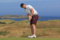 TJ Ford (Co. Sligo) on the 16th green during Round 2 - Strokeplay of the North of Ireland Championship at Royal Portrush Golf Club, Portrush, Co. Antrim on Tuesday 10th July 2018.<br /> Picture:  Thos Caffrey / Golffile