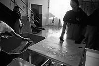 UNITED STATES / Alaska / Kasilof / July 1998..Workers at Inlet Fishery, a salmon fishery on the Kenai Peninsula in southern Alaska...© Davin Ellicson / Anzenberger