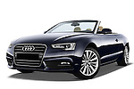 Low aggressive front three quarter view of a 2013 Audi A5 Convertible with the top down...