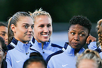Piscataway, NJ - Sunday Sept. 25, 2016: Erica Skroski, Kristin Grubka, Maya Hayes prior to a regular season National Women's Soccer League (NWSL) match between Sky Blue FC and the Portland Thorns FC at Yurcak Field.