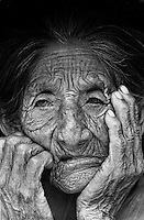 Portray of a very elderly woman. Kinikinau indigenous People, Mato Grosso do Sul State, Brazil.