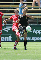 Kimberly Yokers (right) battles against Homare Sawa (left). FC Gold Pride defeated Washington Freedom 3-2 at Buck Shaw Stadium in Santa Clara, California on August 1, 2009.