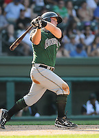 Catcher Dan Burkhart (15) of the Augusta GreenJackets, Class A affiliate of the San Francisco Giants, in a game against the Greenville Drive on April 10, 2011, at Fluor Field at the West End in Greenville, S.C. Photo by Tom Priddy / Four Seam Images