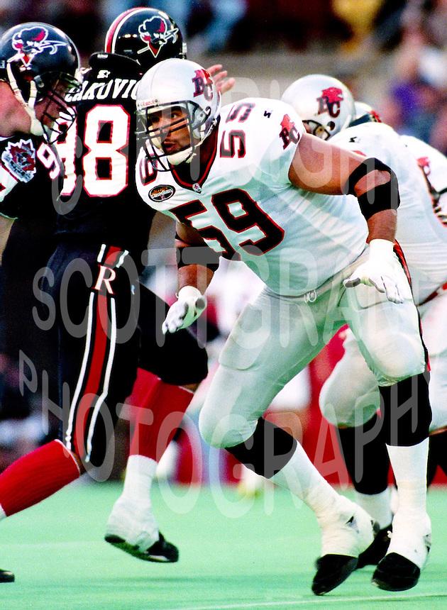 Todd Furdyk BC Lions 1996. Photo Scott Grant