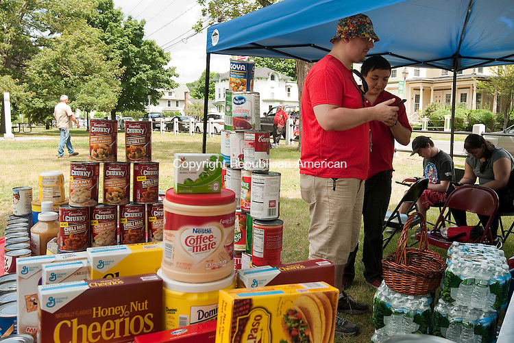 WINSTED,  CT--- -080616JS02- Chris Valli and Tucker Shaw look for Pokemon Saturday during a Pokemon Go themed food drive at East End Park in Winsted. Donations of nonperishable food items were brought to keep Lire Modules active all afternoon. The food will be donated to the Open Door Soup Kitchen in Winsted. <br />  Jim Shannon Republican American