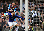 Phil Nevile of Everton looks on in horror as Gareth Barry of Aston Villa comes close to scoring a lst minute winning goal during the Premier League match at Goodison Park  Stadium, Liverpool. Picture date 27th April 2008. Picture credit should read: Simon Bellis/Sportimage