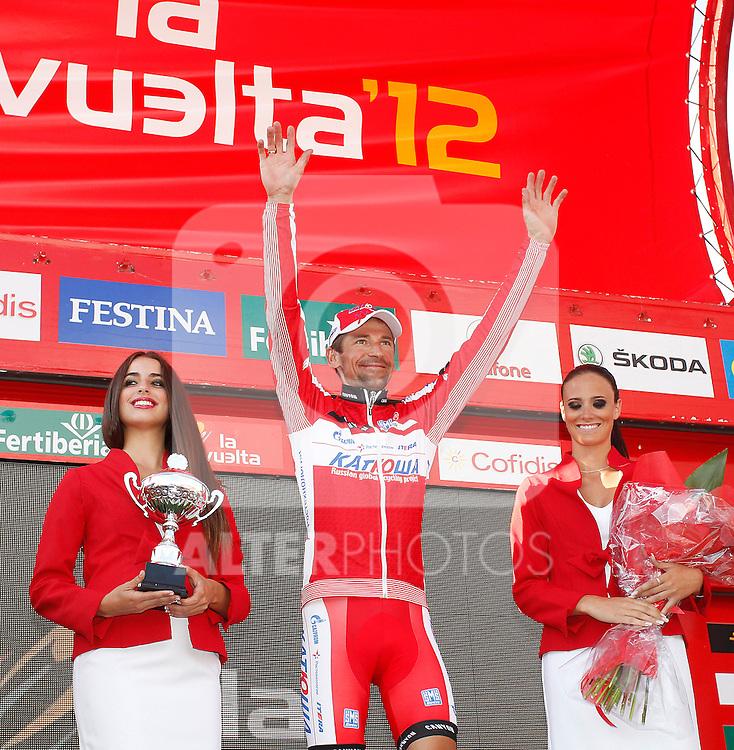 Denis Menchov celebrates the victory in the stage of La Vuelta 2012 beetwen La Faisanera Golf (Segovia)-La Bola del Mundo.September 8,2012. (ALTERPHOTOS/Paola Otero)
