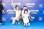 Influencer Natalia Ovejero (c), El Mundo en mis pies on Instagram, with her daughter and boyfriend attend Photocall previous to presentation of 'Playmobil La Pelicula' in Madrid. July 28, 2019. (ALTERPHOTOS/Francis González)
