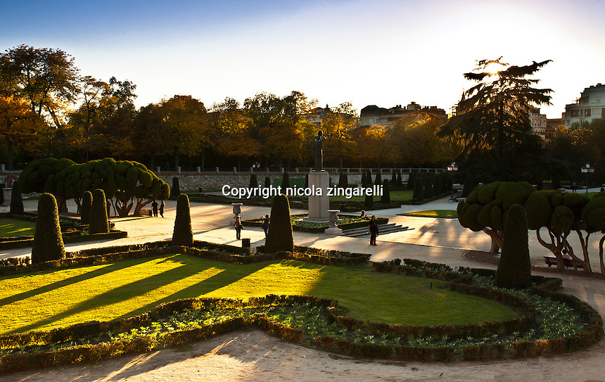 view of the parterre at the retiro park in madrid, spain