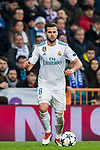 Nacho Fernandez of Real Madrid in action during the UEFA Champions League 2017-18 Round of 16 (1st leg) match between Real Madrid vs Paris Saint Germain at Estadio Santiago Bernabeu on February 14 2018 in Madrid, Spain. Photo by Diego Souto / Power Sport Images