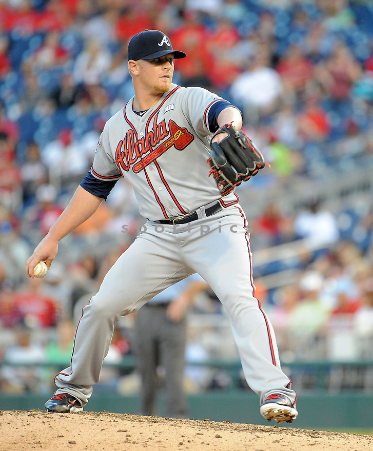 Atlanta Braves David Carpenter (48) during a game against the Washington Nationals on September 10, 2014 at Nationals Park in Washington DC. The Braves beat the Nationals 6-2.