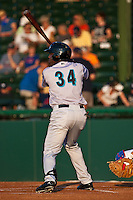 Outfielder Marcell Ozuna #34 of the Jupiter Hammerheads during the game against the Daytona Cubs at Jackie Robinson Ballpark on May 5, 2012 in Daytona Beach, Florida. (Scott Jontes/Four Seam Images)