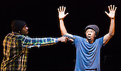 L-R: Mikey J' Asante of Blue Boy Entertainement and Jonzi D. Lyrikal Fearta - Redux revisits some of Jonzi's best known works, including Guilty, Shoota, Safe, Classroom, The Fast Lane and Cracked Mirror. To perform these pieces at the Lilian Baylis Studio at Sadler's Wells, Jonzi is joined by hip hop dance talent including Banxy, Bboy Tuway, Bboy Unique, Lil' Tim and from Boy Blue Entertainment Kenrick 'H2O' Sandy and Michael 'Mikey J' Asante. Photo credit: Bettina Strenske
