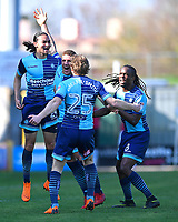 Randell Williams of Wycombe Wanderers left celebrates his goal with team mates during Yeovil Town vs Wycombe Wanderers, Sky Bet EFL League 2 Football at Huish Park on 14th April 2018