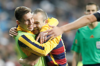 FC Barcelona's Andres Iniesta (r) and Leo Messi celebrate goal during La Liga match. November 21,2015. (ALTERPHOTOS/Acero) /NortePhoto