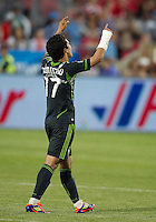 Seattle Sounders FC forward Fredy Montero #17 looks to the heavens after an MLS game between the Seattle Sounders FC and the Toronto FC at BMO Field in Toronto on June 18, 2011..The Seattle Sounders FC won 1-0.