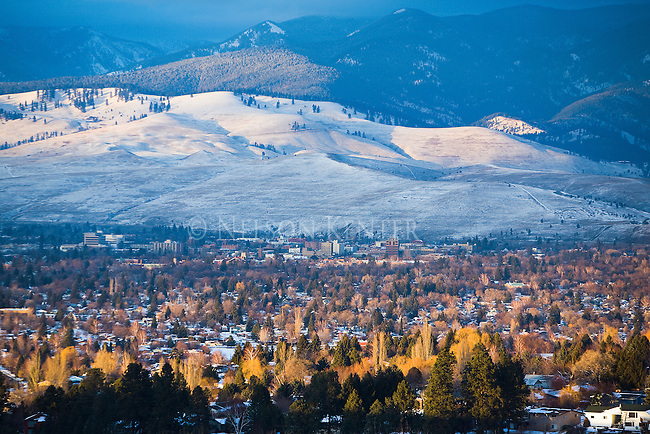 The Missoula, Montana valley in winter