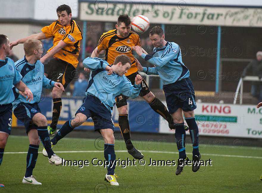 Alloa's Ben Gordon (4) heads home their winner in the dying minutes of the game.