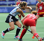 The Hague, Netherlands, June 14: Daniela Sruoga #18 of Argentina defends against Lauren Crandall #27 of USA during the field hockey bronze medal match (Women) between USA and Argentina on June 14, 2014 during the World Cup 2014 at Kyocera Stadium in The Hague, Netherlands. Final score 2-1 (2-1)  (Photo by Dirk Markgraf / www.265-images.com) *** Local caption ***
