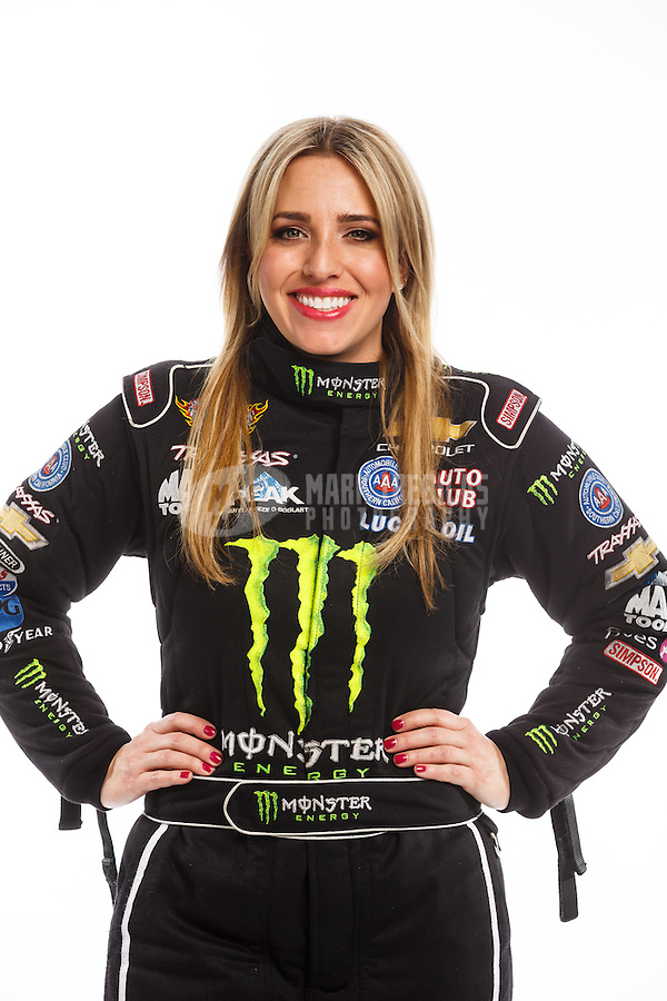 Feb 10, 2016; Pomona, CA, USA; NHRA top fuel driver Brittany Force poses for a portrait during media day at Auto Club Raceway at Pomona. Mandatory Credit: Mark J. Rebilas-USA TODAY Sports