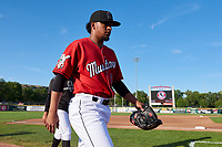Billings Mustangs starting pitcher Omar Conoropo (24) walks toward the dugout before a Pioneer League game against the Grand Junction Rockies at Dehler Park on August 15, 2019 in Billings, Montana. Billings defeated Grand Junction 11-2. (Zachary Lucy/Four Seam Images)