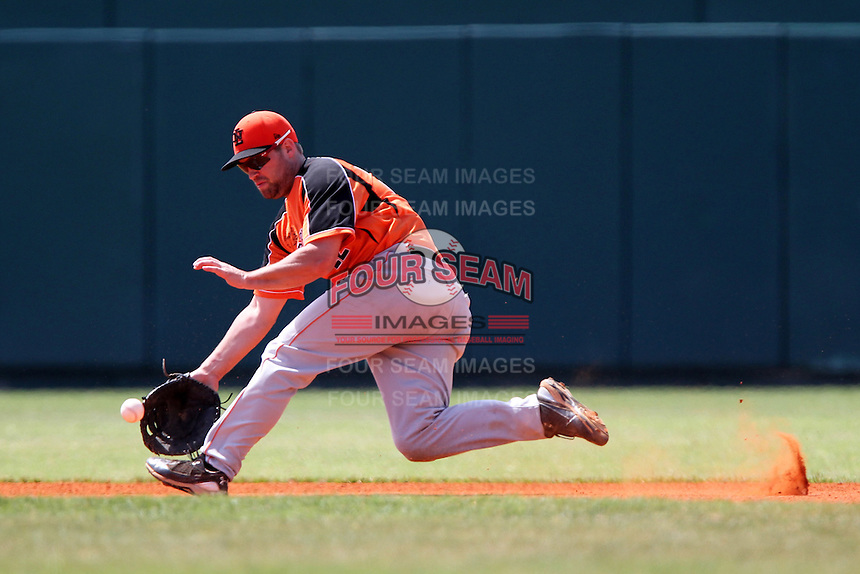 Netherlands National Team first baseman Mark-Jan Moorman #22 during a spring exhibition game against the Pittsburgh Pirates at Al Lang Field on March 12, 2012 in St. Petersburg, Florida.  (Mike Janes/Four Seam Images)