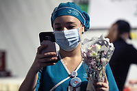 MEDELLIN, COLOMBIA - MAY 12: An Nurse take a selfie during the International Nurses Day tribute, at the Sagrado Corazón Clinic in Medellín, Colombia, on May 12, 2020. The coronavirus pandemic has claimed more than 290,000 lives worldwide. world, according to an account from official sources. (Photo by Fredy Builes / VIEWpress via Getty Images)