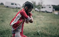 Nacer Bouhanni (FRA/Cofidis) putting a gilet on up the first HC climb of the day; the Col de la Biche (10.5km @9%)<br /> <br /> 104th Tour de France 2017<br /> Stage 9 - Nantua › Chambéry (181km)
