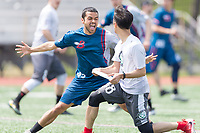 "Washington, DC - APR 22, 2018: DC Breeze Nathan Prior (43) defends against Ottawa Outlaws Kyle Cantal (88) during AUDL game between DC Breeze and the Ottawa Outlaws. The DC Breeze get the win 26-19 over Ottawa in the Battle of the Capitals"" at Catholic University Washington, DC. (Photo by Phil Peters/Media Images International)"