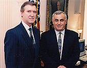 United States Secretary of Defense William S. Cohen, left, pauses for a moment for a photo before sitting down to a private meeting in his Pentagon office with visiting Defense Minister Yitzhak Mordechai of Israel, right, in Washington, DC on March 27, 1998.  <br /> Mandatory Credit: Robert D. Ward / DoD via CNP