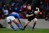 16th June 2017, Eden Park, Auckland, New Zealand; International Rugby Pasifika Challenge; New Zealand versus Samoa;  Jordie Barrett of New Zealand steps against D'Angelo Leuila of Samoa