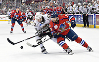 Springfield Thunderbirds right wing Anthony Greco (25) drives inside Hershey Bears defenseman Colby Williams (25) before scoring his second goal of he game during the Springfield Thunderbirds at Hershey Bears on December 1, 2018 at the Giant Center in Hershey, PA.