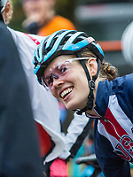 NWA Democrat-Gazette/BEN GOFF @NWABENGOFF<br /> Clara Honsinger of the United States lines up for the start of the UCI Elite Women race Sunday, Oct. 6, 2019, during the the Fayettecross cyclocross races at Centennial Park at Millsap Mountain in Fayetteville. Honsinger won the race.