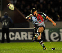 Heineken Cup. Ben Botica of Harlequins kicks a conversion during the Heineken Cup Pool 3 match between Harlequins and Biarritz Olympique at Twickenham Stoop on October 13, 2012 in London, England.