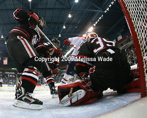 The Northeastern University Huskies defeated the University of Massachusetts-Lowell Riverhawks 3-1 on Saturday, February 28, 2009, at the Paul E. Tsongas Arena in Lowell, Massachusetts.