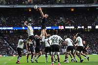 Joe Launchbury of England wins a lineout during the Old Mutual Wealth Series match between England and Fiji at Twickenham Stadium on Saturday 19th November 2016 (Photo by Rob Munro)