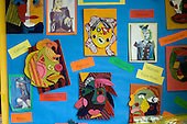 Display of student's work, Art class, state Secondary Roman Catholic School.