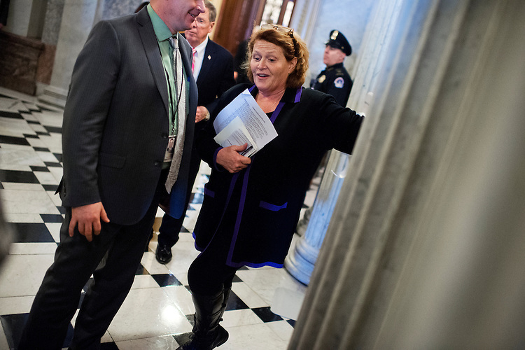 UNITED STATES - JANUARY 28: Sen. Heidi Heitkamp, D-N.D., is pictured after a vote on amendments to the energy bill in the Capitol, January 28, 2016. (Photo By Tom Williams/CQ Roll Call)