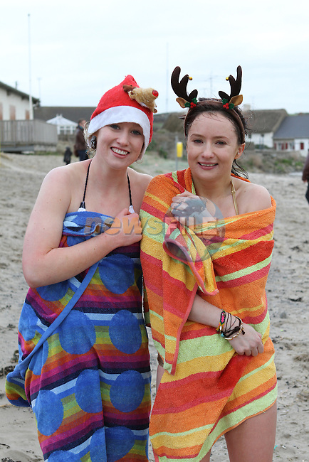 Emer and Catherine O'Shea at the Stephens Day Swim at Clogherhead Beach...(Photo credit should read Jenny Matthews www.newsfile.ie)....This Picture has been sent you under the conditions enclosed by:.Newsfile Ltd..The Studio,.Millmount Abbey,.Drogheda,.Co Meath..Ireland..Tel: +353(0)41-9871240.Fax: +353(0)41-9871260.GSM: +353(0)86-2500958.email: pictures@newsfile.ie.www.newsfile.ie.