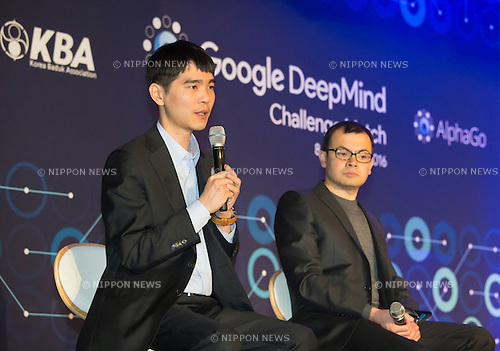 Lee Se-dol and Demis Hassabis, Mar 12, 2016 : South Korean Go master Lee Se-dol (L) and Demis Hassabis, CEO of the AlphaGo developer Google DeepMind attend a press conference after the third match of the Google DeepMind Challenge Match in Seoul, South Korea. Lee beat on Sunday AlphaGo, the artificial intelligence (AI) program made by Google's  DeepMind, for the first time at the fourth match during the special human-versus-computer Go tournament and the five-round Go tournament is now 3-1 as of March 14, 2016, local media reported. (Photo by Lee Jae-Won/AFLO) (SOUTH KOREA)