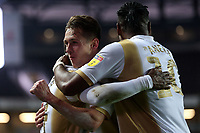 Kieran Agard (left) of MK Dons is congratulated after scoring the second goal during MK Dons vs Macclesfield Town, Sky Bet EFL League 2 Football at stadium:mk on 17th November 2018