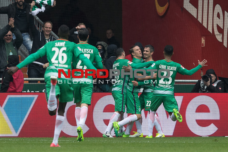 16.04.2017, Weser Stadion, Bremen, GER, 1.FBL, Werder Bremen vs Hamburger SV, im Bild<br /> 1 zu 1durch Max Kruse (Bremen #10) gegen ChristianMathenia (Hamburger SV #31)<br /> <br /> jubel Max Kruse (Bremen #10) mit der Mannschaft Theodor Gebre Selassie (Bremen #23)<br /> Fin Bartels (Bremen #22)<br /> Lamine San&eacute; / Sane (Bremen #26)<br /> Florian Grillitsch (Werder Bremen #27)<br /> <br /> Foto &copy; nordphoto / Kokenge
